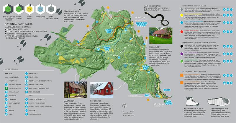 carte parcours rando Söderåsen national park